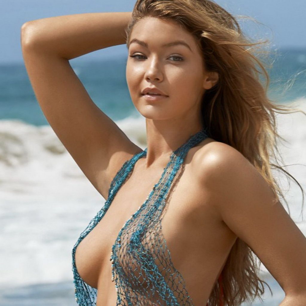 Gigi Hadid nude topless bodypaint see through Sports Illustrated sexy Swimsuit 2015 photo shoot 38x